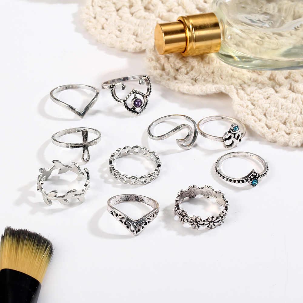 10ชิ้น/เซ็ตสีเงินโบราณข้ามมงกุฎคริสตัลRhinestoneแหวนนิ้วมือสำหรับผู้หญิงกลวงดอกไม้Midi K Nuckleแหวนชุดเครื่องประดับ