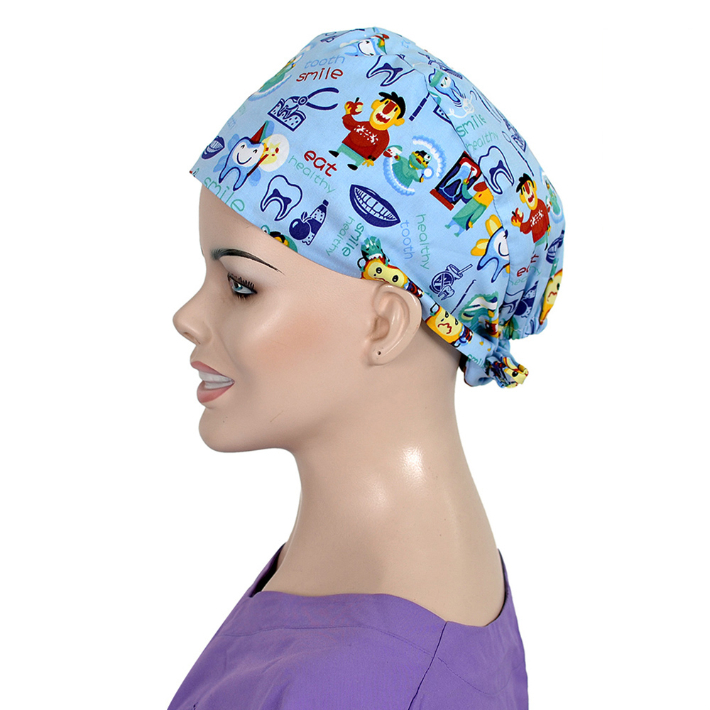 Tooth Fairy Print Surgical Scrub Cap Cotton Medical Print Caps Hospital Dental Clinic Surgeon Cap Pet Doctor OR Work Caps