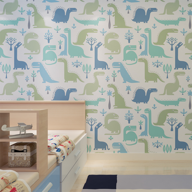 Hanmero high quality soundproof wallpaper cartoon dinosaur pattern kids wallpaper bedroom decoration qz0427 in wallpapers from home improvement on