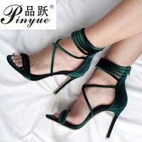 Lace up Velvet Gladiator Women Sandals 10.5cm Summer Women High Heel Shoes Fashion Sexy Women Pumps 34 41