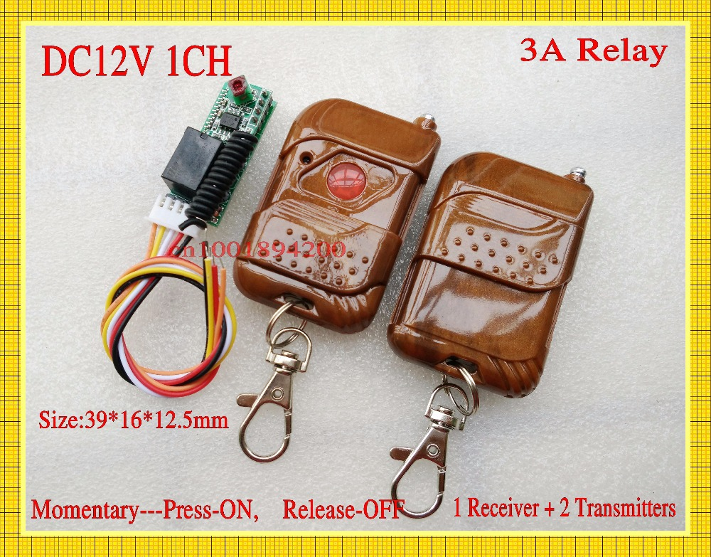 small remote switch 12v DC 1CH Relay 3A wireless remote controller normally open/close mini micro door access remote control M4 normally open single phase solid state relay ssr mgr 1 d48120 120a control dc ac 24 480v
