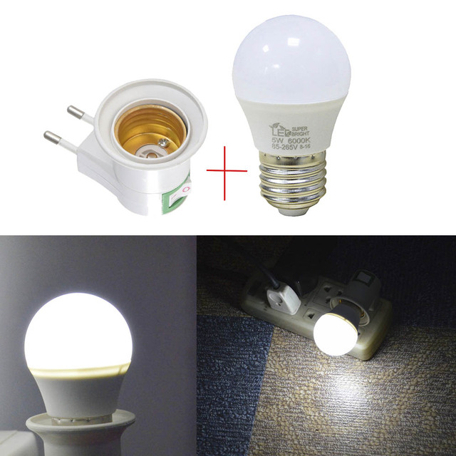 EU Type LED Under Cabinet Light Plug Adapter E27 Socket To Bulb Lamp Holder  For Wardrobe