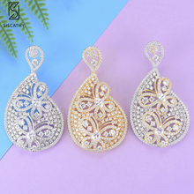 SISCATHY Luxury Big Pendant Flower Earrings Hollow African Drop Earring Statement For Bride Engagement Jewelry Women