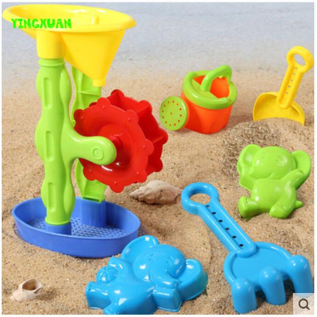 Happyxuan 6 peças set crianças pá de areia brinquedo de plástico moinho de vento molde chaleira água play diversão ao ar livre para crianças presente