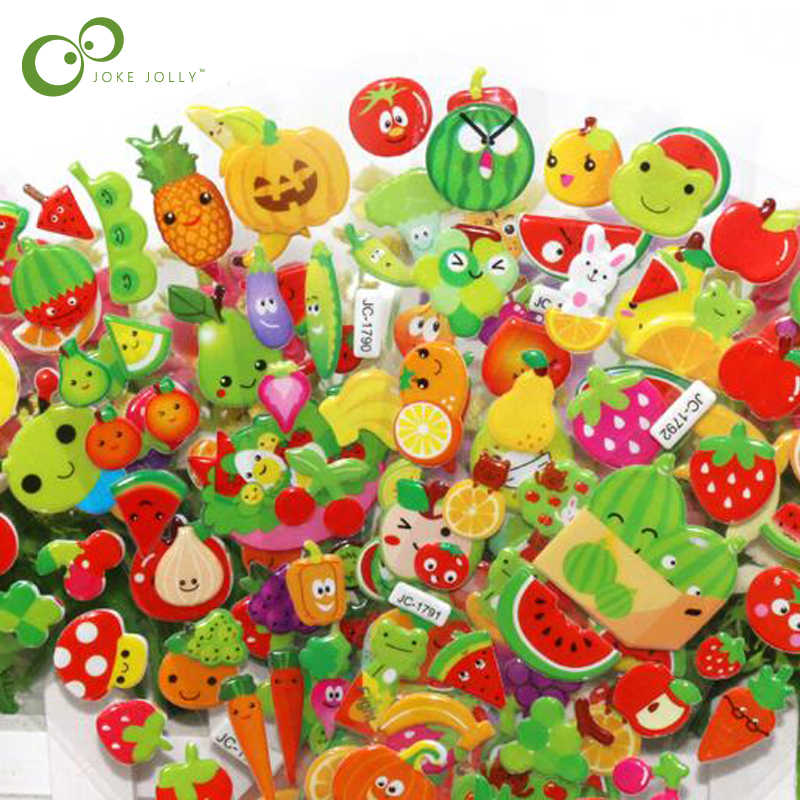 10 Sheets/lot Cute Fruits and Vegetables  DIY Stickers Cartoon Children Food Stickers Toys PVC Scrapbook Gifts For Kids GYH