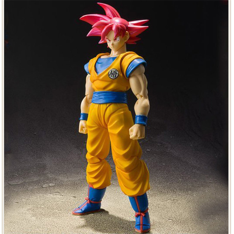 Anime Dragon Ball Z Super Saiyan The Son Goku Red Hair Ver. PVC Action Figure Collectible Model Kids Toys Doll Gift 16cm