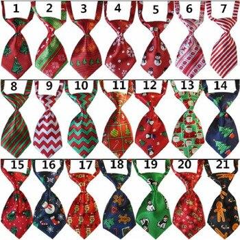 50PC/Lot Christmas Dog Ties Handmade Cat Dog Neckties Holiday Pet Supplies 21Colors