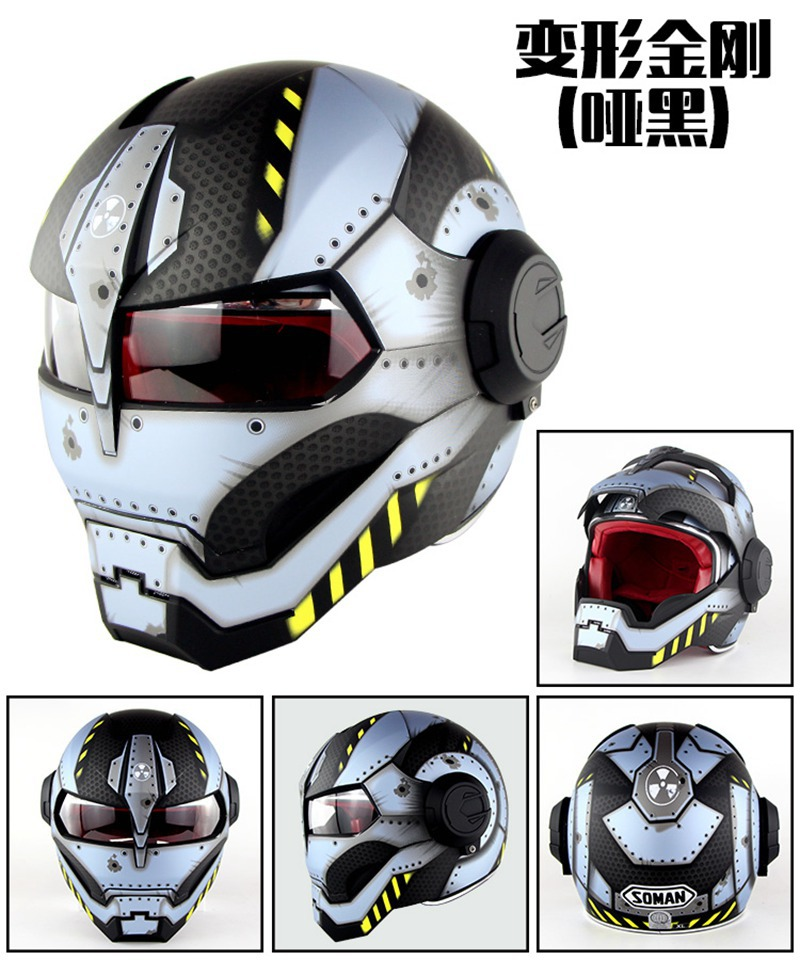 Motorcycle Helmet Full Face Helmet Iron Man Helmet High Quality Helmet Transformers Design Light Blue masei mens womens war machine gray ironman iron man helmet motorcycle helmet half helmet open face helmet abs casque motocross