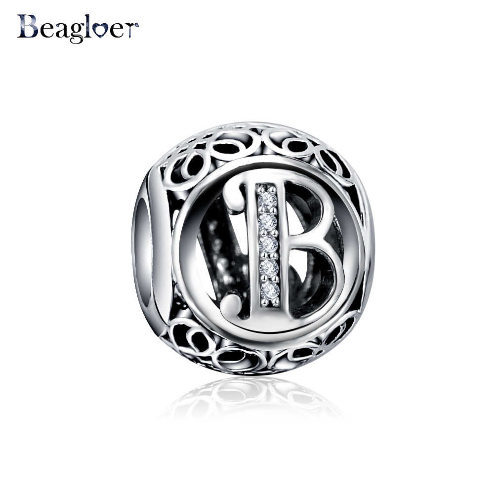 Beagloer الكلاسيكية 925 فضة الأبجدية B إلكتروني حبة سحر اليدوية صالح سوار وقلادة مجوهرات اكسسوارات PSMB0635