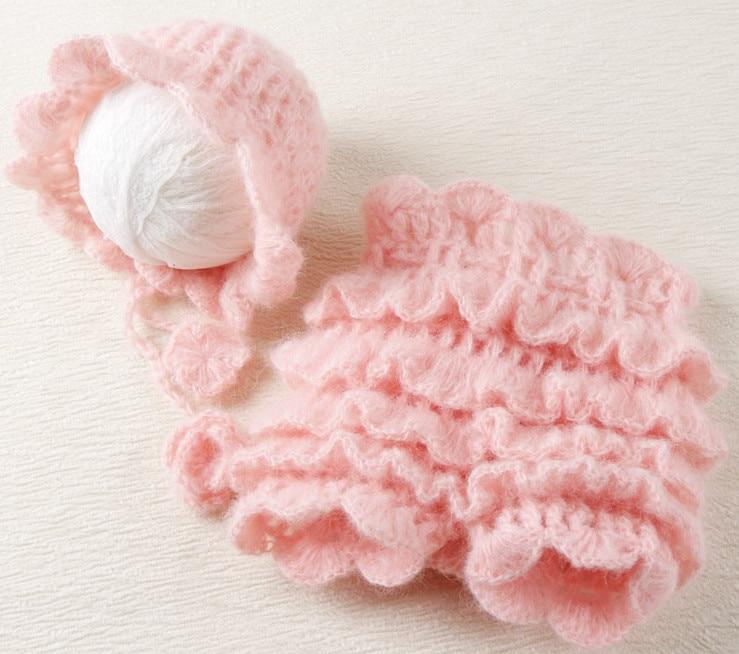 Peach Ruffles Mohair Pants and Hat Set Նորածնի - Հագուստ նորածինների համար - Լուսանկար 2