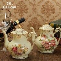 GLLead European Style Luxury Ivory Porcelain Teapot Top Quality Ceramic Kettle Coffee Pot Fashion Drinkware