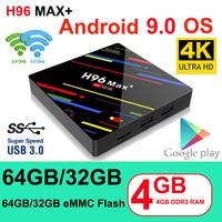 H96 MAX Plus Smart TV Box Android 9.0 TVBox 4GB Ram 32GB/64GB Rom Rockchip RK3328 4K H.265 USB3.0 2.4Ghz WiFi IP TV Set Top Box