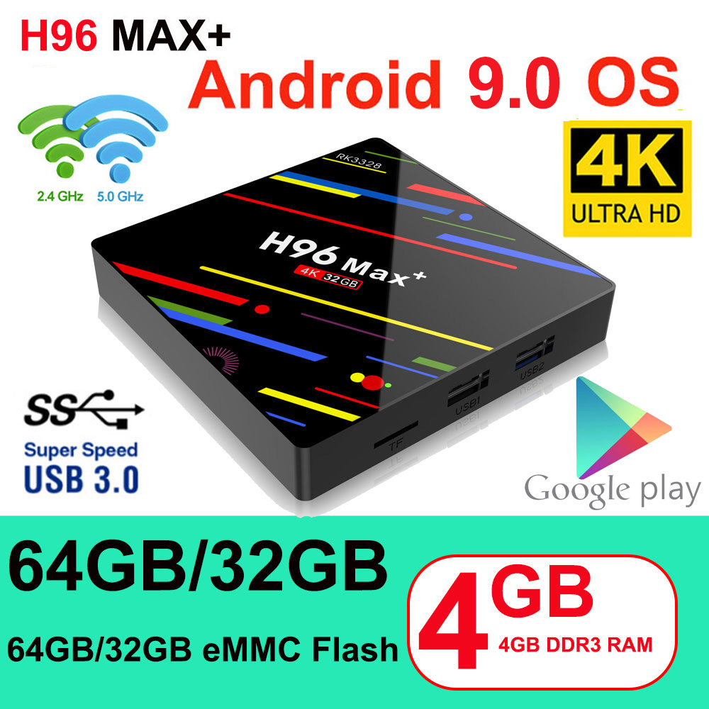 H96 max plus smart tv caixa android 9.0 tvbox 4 gb ram 32 gb/64 gb rom rockchip rk3328 4 k h.265 usb3.0 2.4 ghz wifi ip tv conjunto caixa superior