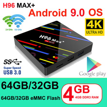 TV Box H96 MAX Plus Dispositivo de TV inteligente, Android 9,0, 4GB Ram, 32GB/64GB Rom, Rockchip RK3328, 4K, H.265, USB 3,0, decodificador IP WiFi de 2,4 Ghz