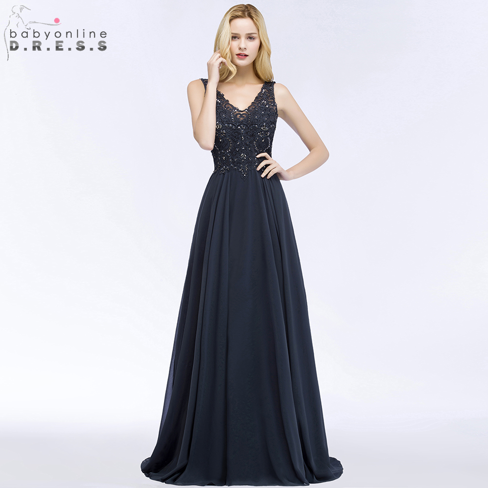 Babyonline Navy Blue Beaded Lace   Evening     Dresses   Long 2019 Sexy V-Neck Formal Party   Dresses   vestido de festa longo