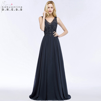 Babyonline Navy Blue Beaded Lace Evening Dresses Long 2018 Sexy V Neck Formal Party Dresses vestido de festa longo