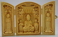 Decorated 100% Boxwood High Difficulty Carved Folding Box Kwan yin Buddha Statue