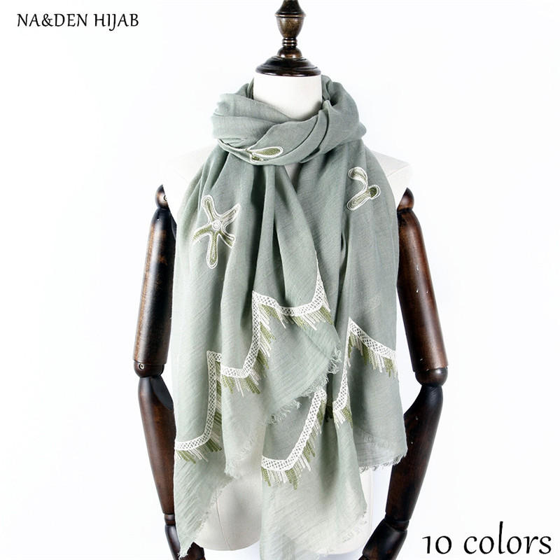 NEW embroider flower lace scarf fringe fashion hijab luxury women scarves shawls brand soft muffler embroidery islamic hijabs
