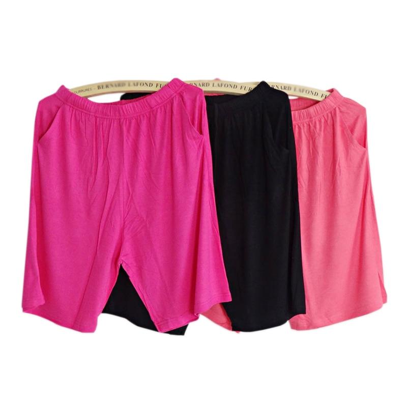 Plus size Summer modal shorts sleep bottoms women pure color casual sleepwear pants women plus size short home pants for women