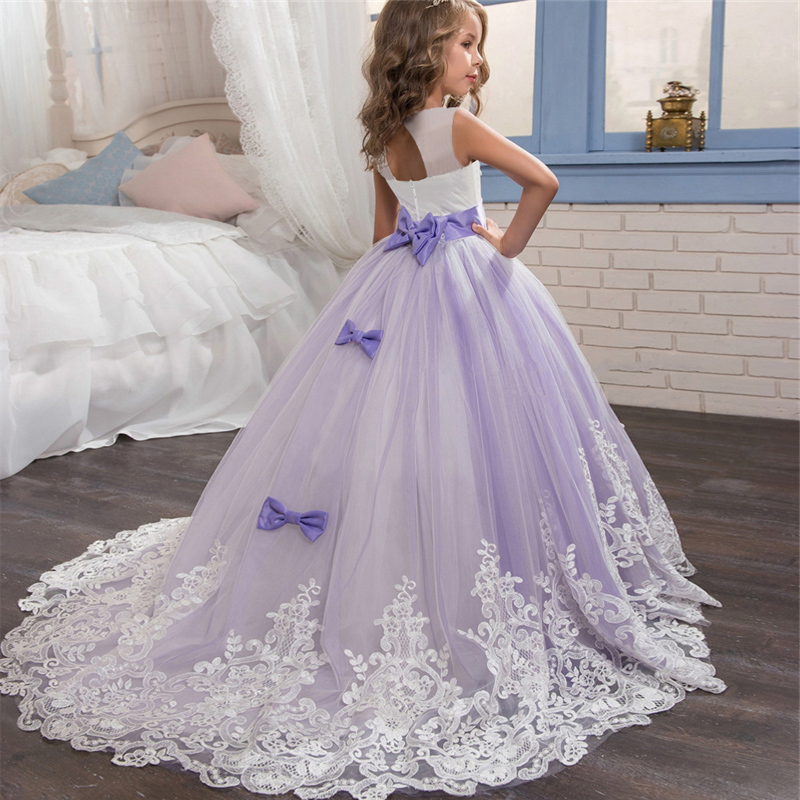 formal kids dresses for girls wedding tulle purple long