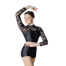 Girls Two Pieces Jazz Dancewear Outfit with Long Lace Sleeve Zip Back Cotton/Lycra Top and Shorts Ladies Gymnastics Costume lace up front zip back shorts