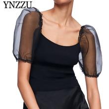 YNZZU 2019 Summer Puff sleeve women elastic knit tops Square collar semi-sheer black ladies Knitted t-shirt Sexy fashion YT646