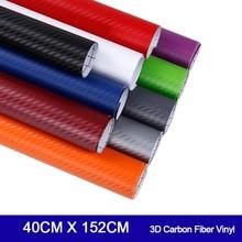 3D Carbon Fiber Vinyl Xe Bọc Cuộn Phim Xe Ô Tô Đề Can Ô Tô Xe Máy Tạo Kiểu Phụ Kiện Ô Tô 40 Cm X 152cm