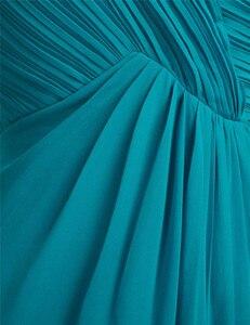 Image 5 - TiaoBug Een Schouder Een Lijn Bruidsmeisjekleding Lange Chiffon Bruiloft Gast Prinses Floor Lengte Teal Marineblauw Roze Jurken