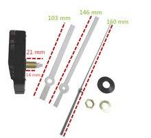 DHL 100 sets Silent Quartz Wall Clock Movement Mechanism Wide Hands Repair Kit Tool Set With Hook 21mm Shaft