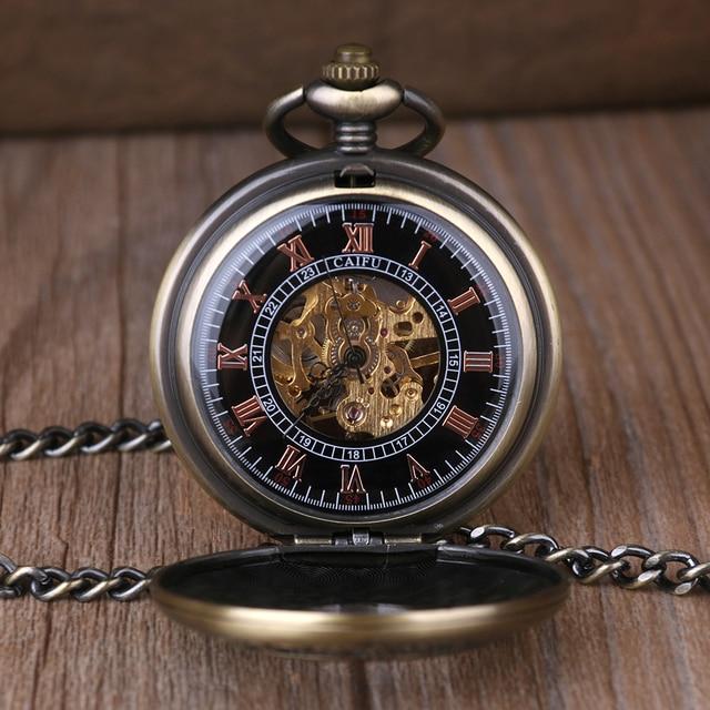 Vintage Steampunk Wooden Mechanical Pocket Watch With Chain Hand Wind Skeleton Bronze Necklace Clock Women Men Xmas Gift