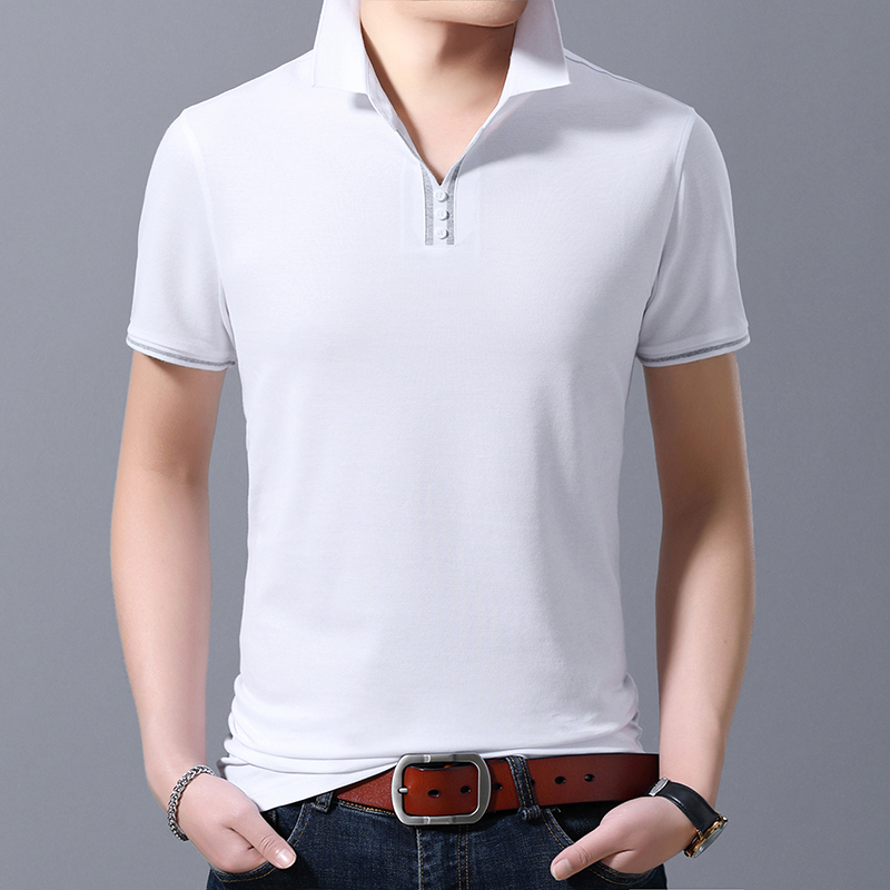 Men Business Casual   Polo   Shirt Summer Fashion Solid Color Males Slim   Polo   Shirts Short Sleeve