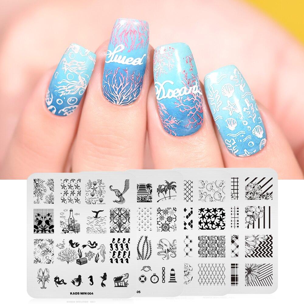 KADS 4pcs/set Dreamy Oecan Mermaid & Flower Nail Stamping Plates Set Flower Nail Art Design Tools Bundle For Nail Stamping Art