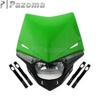 Motocross Dirt Bike LED Green Headlight Dual Sport Motorcycle Headlamp for Kawasaki KLX 110 125 150 KLR KDX 250 KX 450