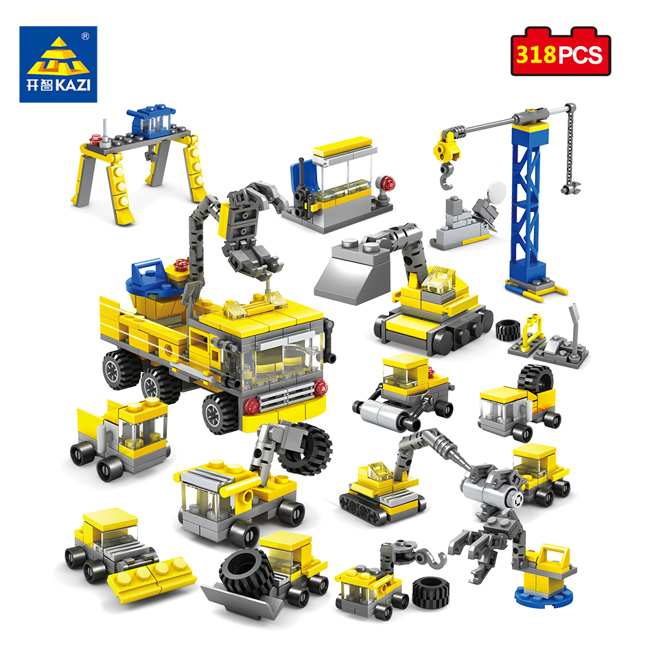 KAZI 16 in 1 City Construction Excavator Forklift Building Blocks Compatible legoed Brinquedos Educational Toys For Children