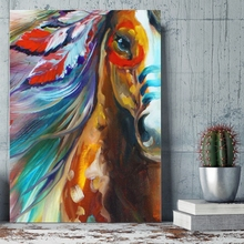 Feather Horse Painting Canvas Art Animal Artwork Gallant Home Wall Picture for Living Room Decor Drop shipping