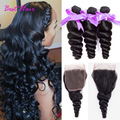 peruvian loose wave with closure bleached knots 3 bundles loose wave lace closure with bundles peruvian virgin hair with closure
