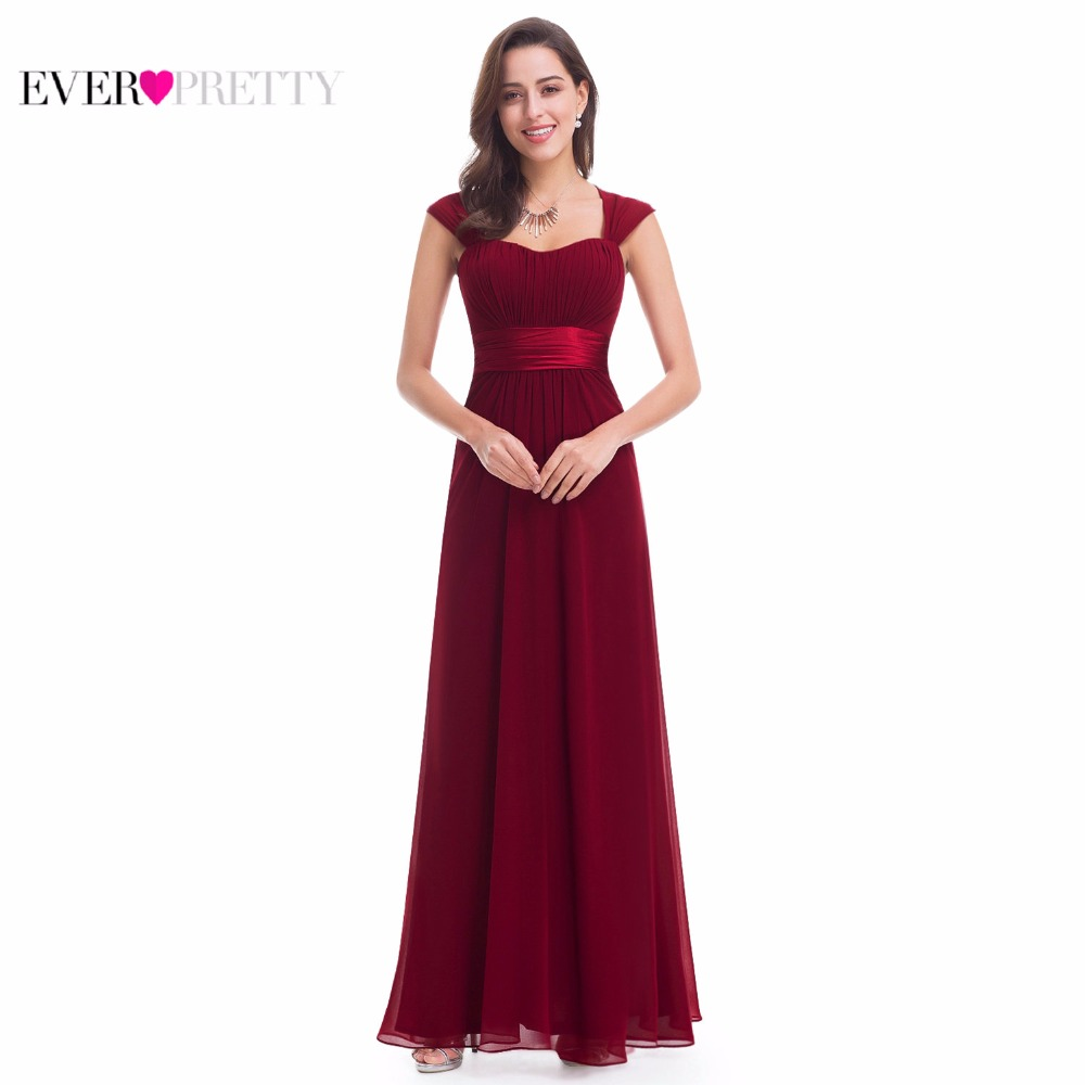 Burgundy Bridesmaid Dress Ever Pretty Elegant EP08834 Sleeveless Long Chiffon Wedding Party Gown Special Occation For Women 2020