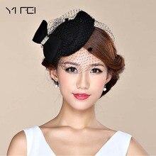 Sombreros Fascinator para mujeres invierno bordado velo algodón fieltro  pastillero sombreros para fiesta de cóctel Formal 776791d5b2d8