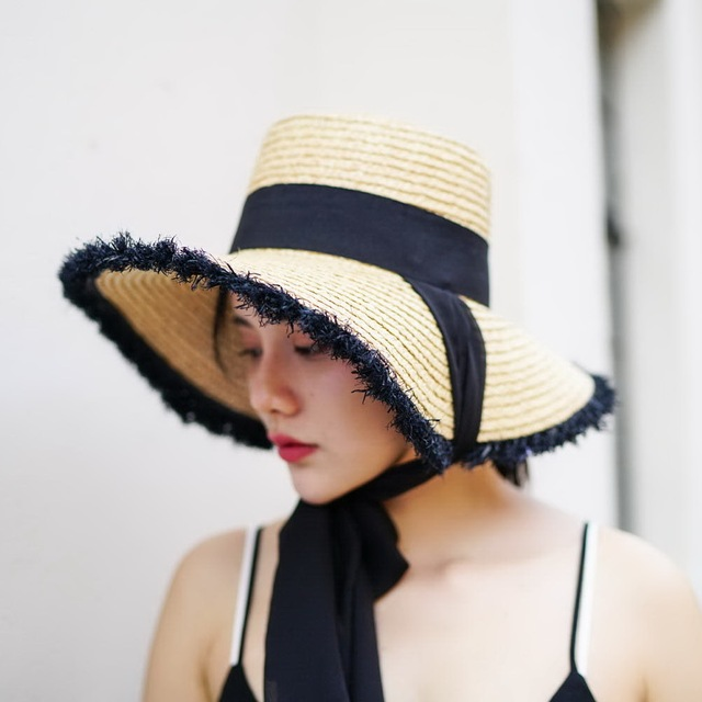 a87b4357723 Sun Protection Hat Bucket Straw Hats with Ribbon Tie Women 2018 Summer  Holiday Raffia Beach Hats