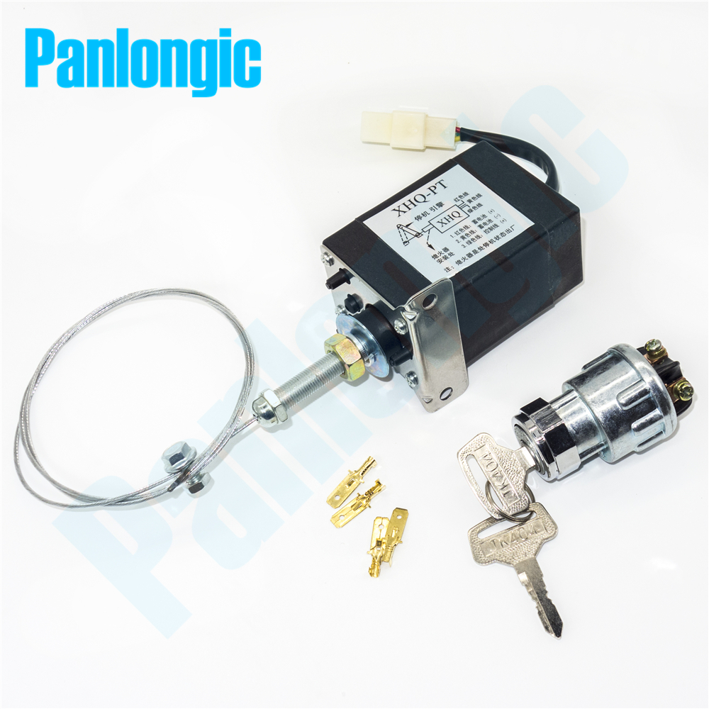 XHQ-PT 12V/24V Power On/Off Pull Type Diesel Engine Parts Stop Solenoid for Generator Spare Parts + Holder + Electric Lock weifang 495 k4100 r4105 r6105 diesel engine and diesel generator parts 12v 24v stop solenoid for sale