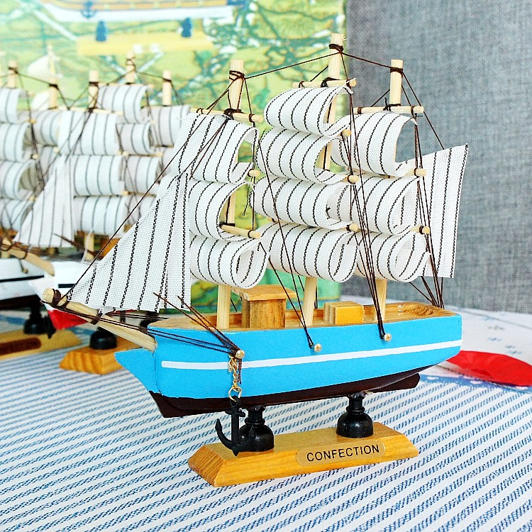 Craft Carving <font><b>Nautical</b></font> Sailing Ship Model Wooden Supplies Marine Decoration Sailboat Model Mediterranean Style Boat <font><b>Home</b></font> <font><b>Decor</b></font>
