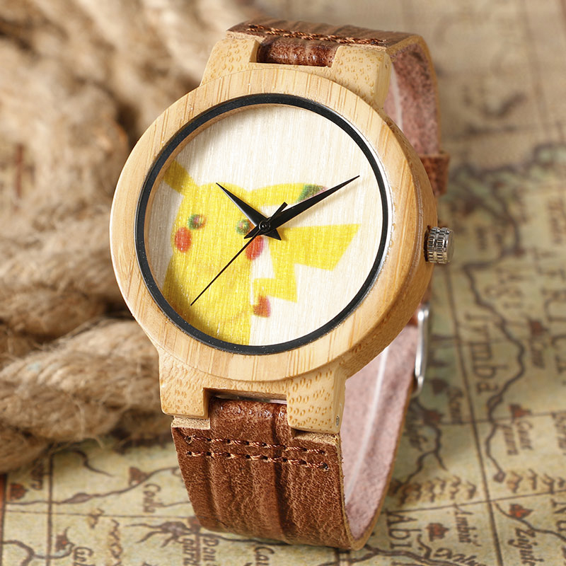 2016 New Lovely Genius Pikachu Style Wood Watch Handmade Bamboo Wrist Watch With Genuine Leather Strap