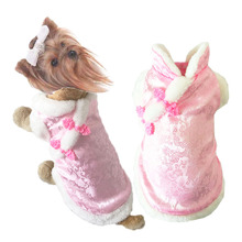 New year pet clothes winter soft silk+fleece dog puppy Chinese style lovely Royal princess coat costume
