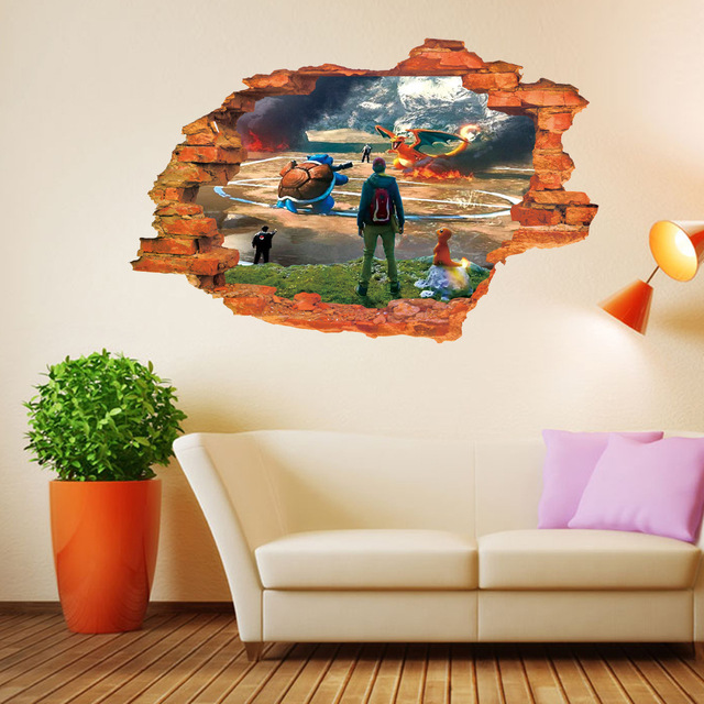 3D Wall Stickers Pokemon Fighting Cartoon Posters Wall Decals Childrenu0027s  Wall Sticker Mural Wallpaper Home Decoration Part 57