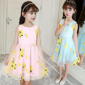 2018 Summer Style Flower Girls Dress Toddlers Teen Children Princess Clothing Fashion Kids Party Clothes Sleeveless Dresses 3