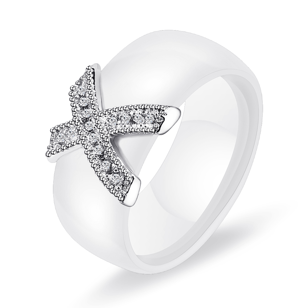 Fashion Jewelry Women Ring With AAA Crystal 8 mm X Cross Ceramic Rings For Women Wedding Party Accessories Gift Design 5