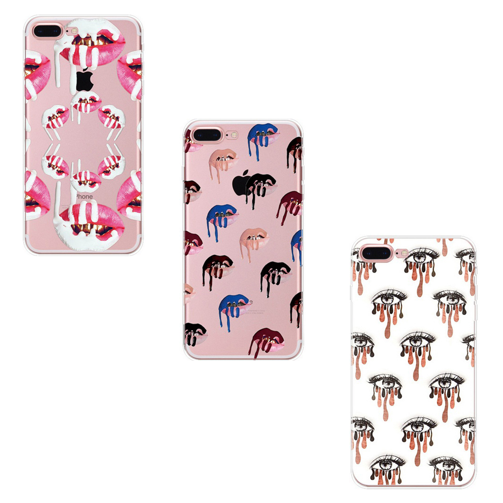 2017 New Sexy Girls Soft TPU Cases Shell For iphone 7 7Plus MakeUp Lipstick Cosmetics Skin Back Cover Red Lips Eyes Fundas VQ069