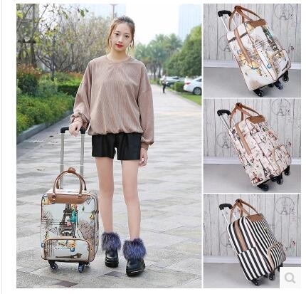 Brand 20 Inch 22 Inch Women Luggage Trolley Bag On Wheels Travel Suitcase Travel Rolling Bag Baggage Suitcase Travel Wheeled Bag