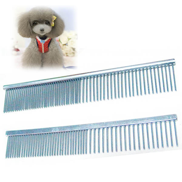 Pet Dog Cat Cleaning Tools Stainless Steel Comb Long Hair Shedding Grooming Flea Comb ...