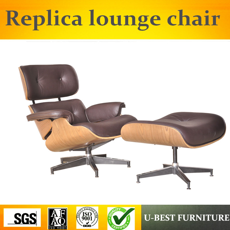 U-BEST Mid-Century Designer Lounge Chair,Designer Reproduction, Modern Style Lounge Chair And Ottoman Brown Leather Chaise